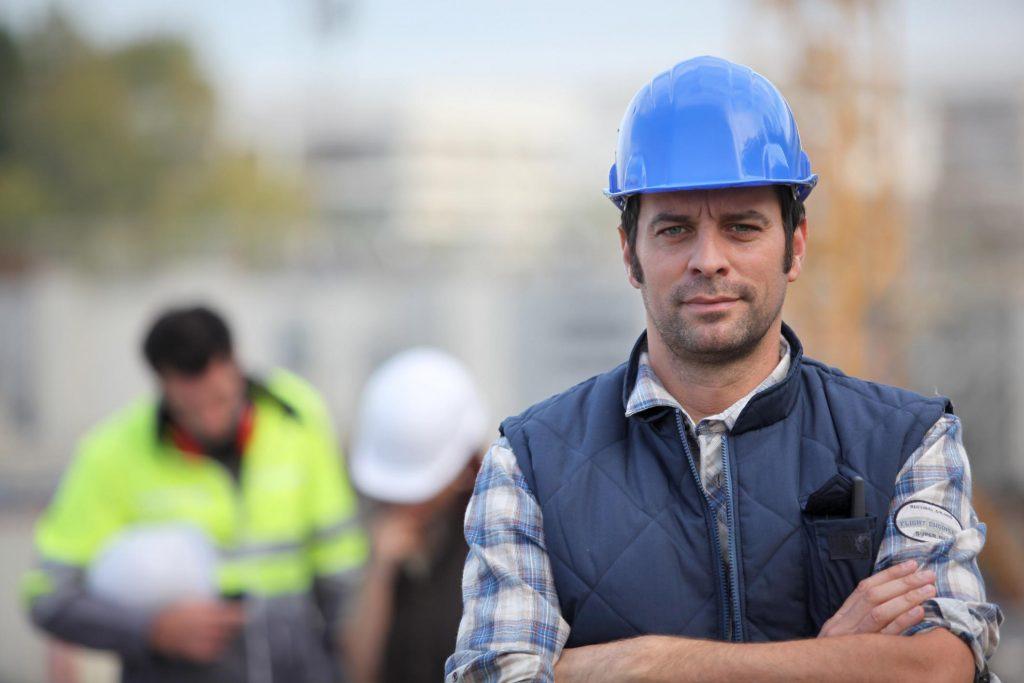 concrete worker standing posing