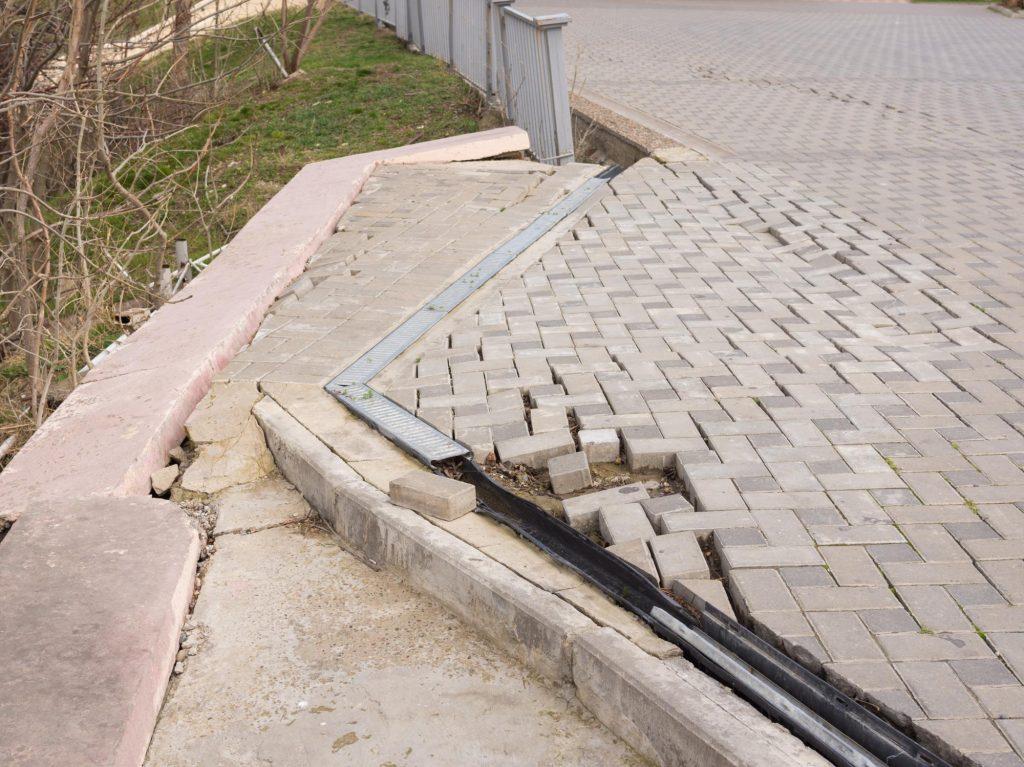 concrete repair in progress