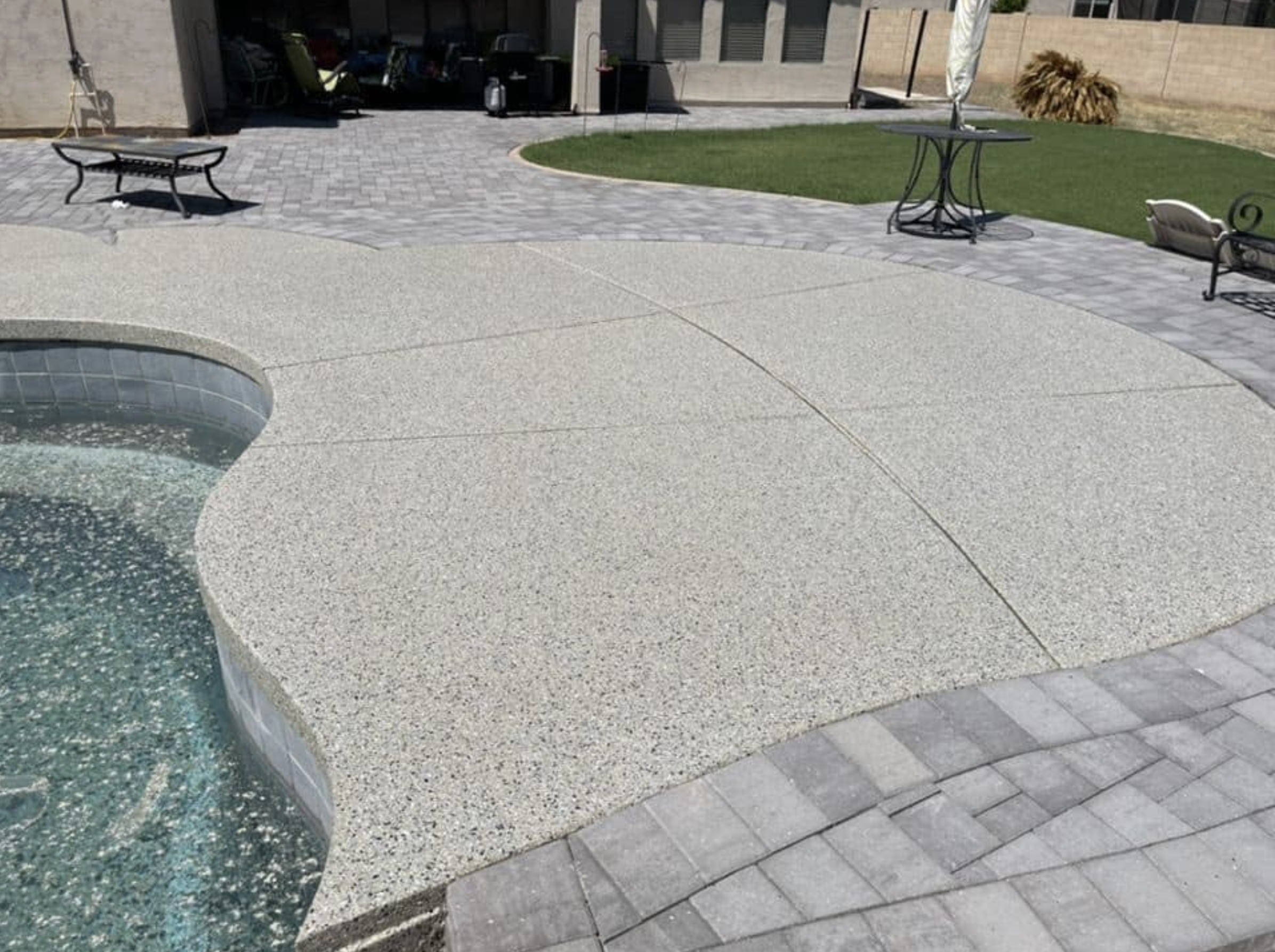this image shows pool deck in Rancho Cucamonga, California