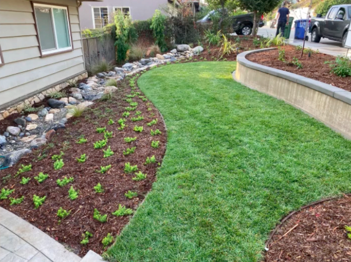 this image shows turf installation in Rancho Cucamonga, California